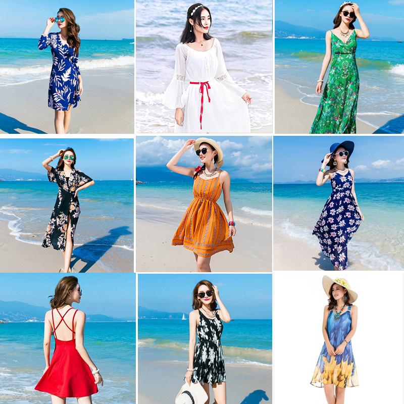 全新★断码亏本清仓★波西米亚海边度假沙滩裙 连衣裙子