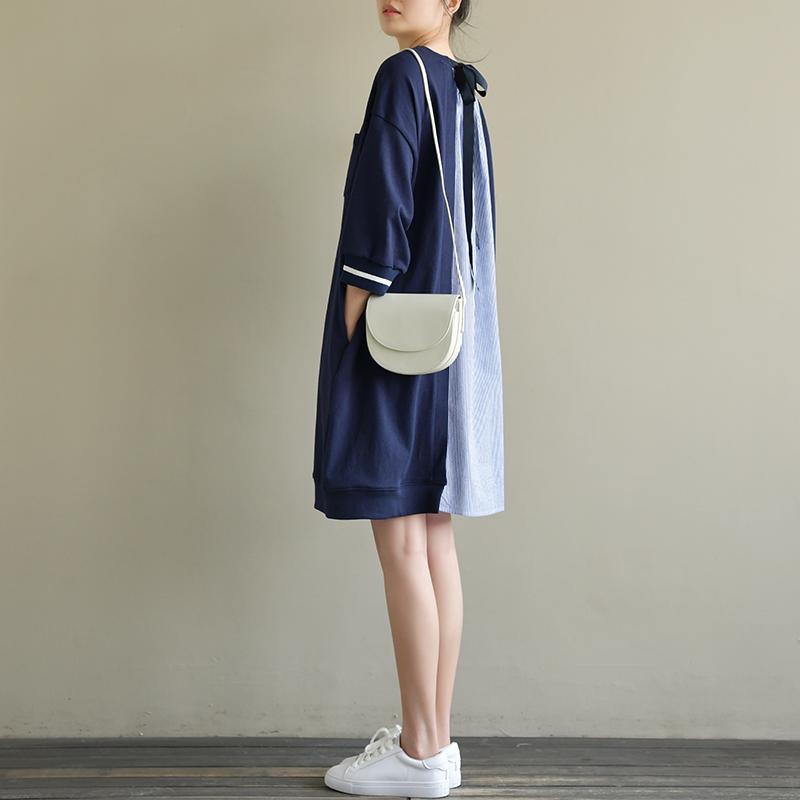 天然出品 寒章 宽松文艺条纹针织拼接中长款背后系带连衣裙春装新