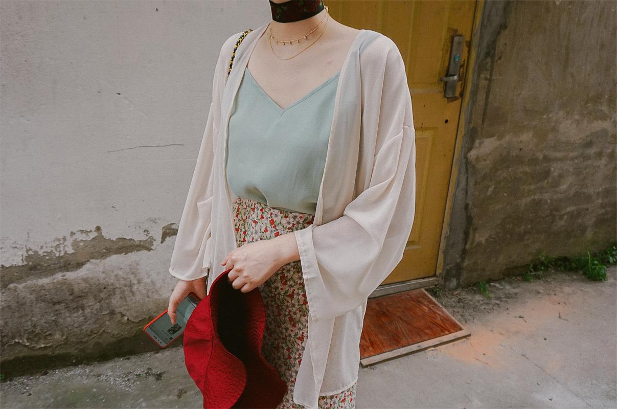 辛德瑞拉工作室|复古日式和服雪纺宽松慵懒防晒衣开衫空调衫外套