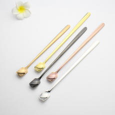 Small Word 2007 Special Nordic Style Simple Fashion Square Head Matte Coffee Spoon Stirring Spoon Dessert Spoon