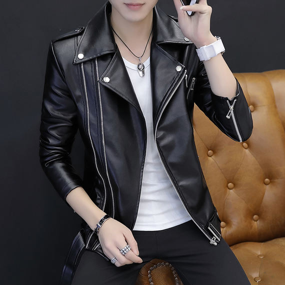 Youth Personality Hair Stylist Leather Men's Korean Leather Jacket Trend Men's Autumn Handsome Slim Nightclub Jacket