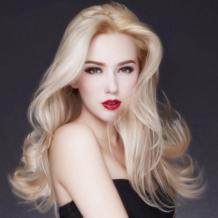 个性欧美浅金黄色假毛 洛丽塔中分长卷发 动漫cos发型 大头皮设计图片