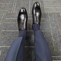 【高档皮质系列】 隐形内增高皮鞋商务正装布洛克雕花男鞋6cm小码