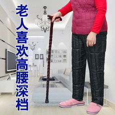 Middle-aged and old cotton pants female 70-80 years old high waist deep file loose warm pants grandma wool pants thick large size winter