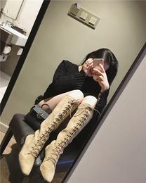 复古马丁靴女英伦风复古时尚系带长筒靴秋冬新款粗跟过膝长靴女鞋