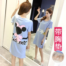 Bra nightdress female summer short-sleeved chest pad home service cotton free wearing underwear can wear Korean students sweet