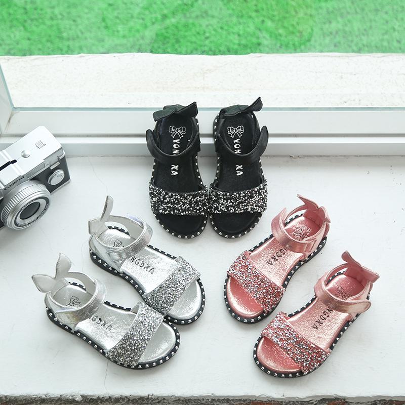 2018夏季新款儿童凉鞋女童宝宝鞋亮片水钻可爱露趾凉鞋包跟罗马鞋