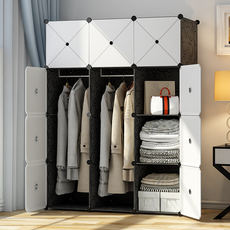 Wardrobe simple assembly plastic fabric single rent small bedroom home cloth closet hanging imitation wood storage cabinet