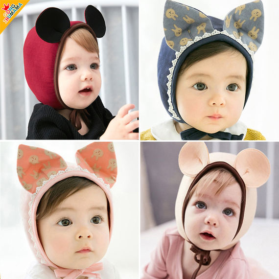 2018 Princess Mother Spring and Autumn New Men and women Baby Rabbit Rabbit Earmuffs Baby Cute Knit Cap Sleeping Hat
