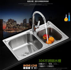 Kitchen sink 304 stainless steel double basin sink drawing deepening sink sink dishwashing basin