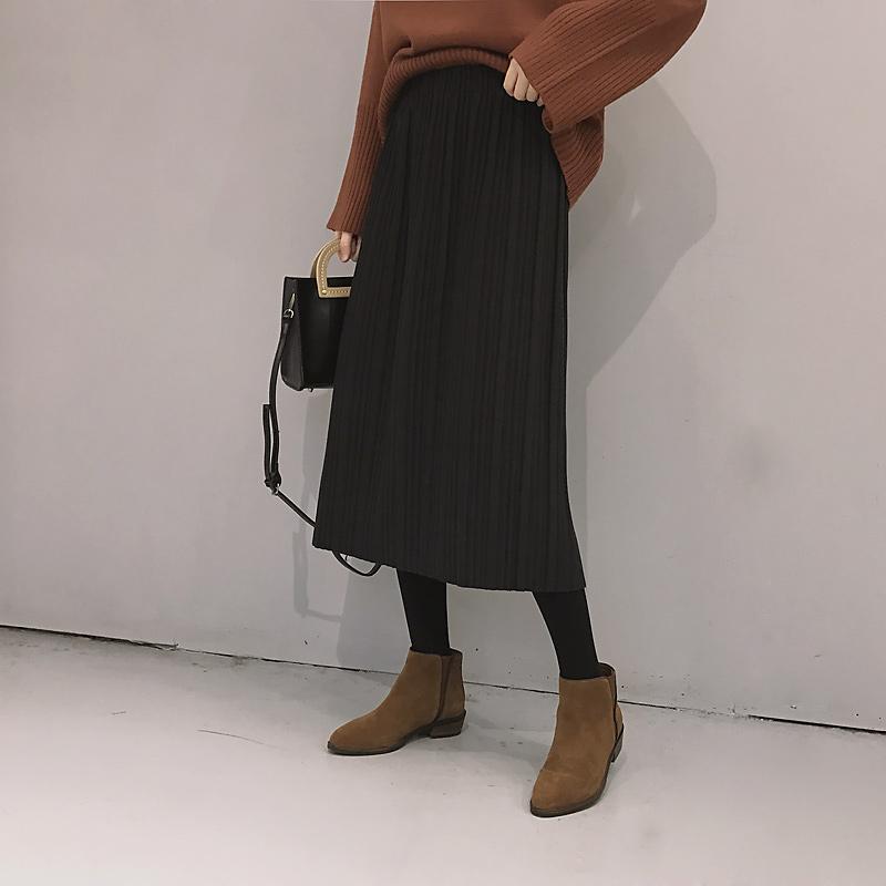 秋冬新款韩版简约呢料半身裙百搭气质纯色压皱中长款a字百褶裙潮