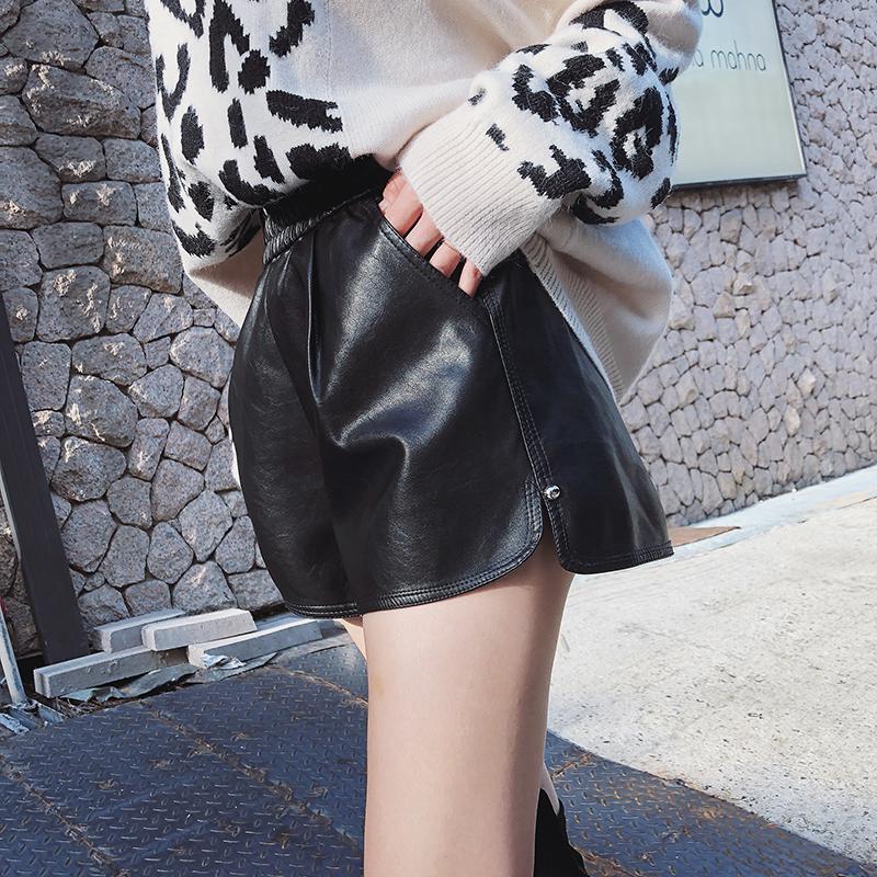 皮裤女短裤外穿 pu皮短裤女2018新款高腰 秋冬显瘦靴裤阔腿休闲裤