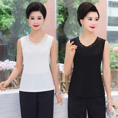 Sleeveless vest female summer middle-aged mother installed short paragraph strap top large size within the self-cultivation bottoming shirt stretch cotton