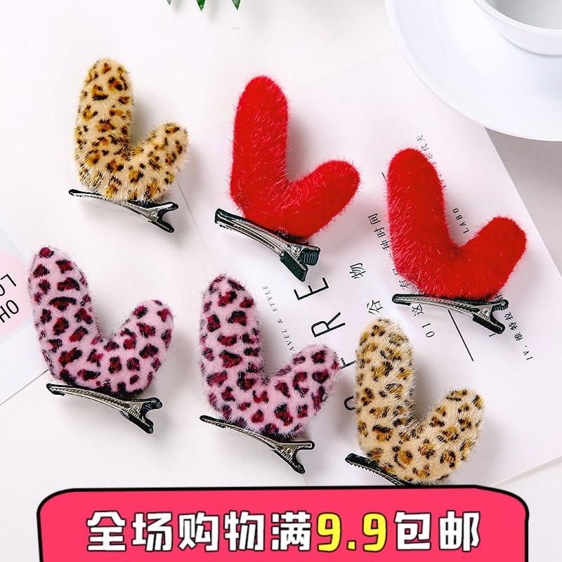可爱发夹 兔耳朵头箍卡通动物发饰韩国超萌发卡圣诞饰品 压发头饰