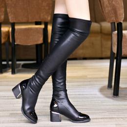 2017秋冬弹力性感显瘦过膝长靴尖头粗跟长筒皮靴子女鞋潮马丁靴