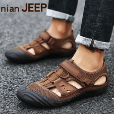 NIAN JEEP Jeep Shield Sandals Men's Leather 2018 New Summer Soft Baotou casual shoes Men's beach shoes