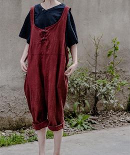 壹念女装 2017春秋女士亚麻背带裤宽松休闲裤 复古棉麻长裤连衣裤