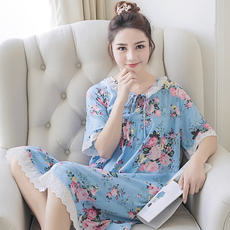 Cotton silk nightdress female summer thin section Korean short-sleeved cotton silk small Cuihua pajamas cotton silk nightdress home service dress
