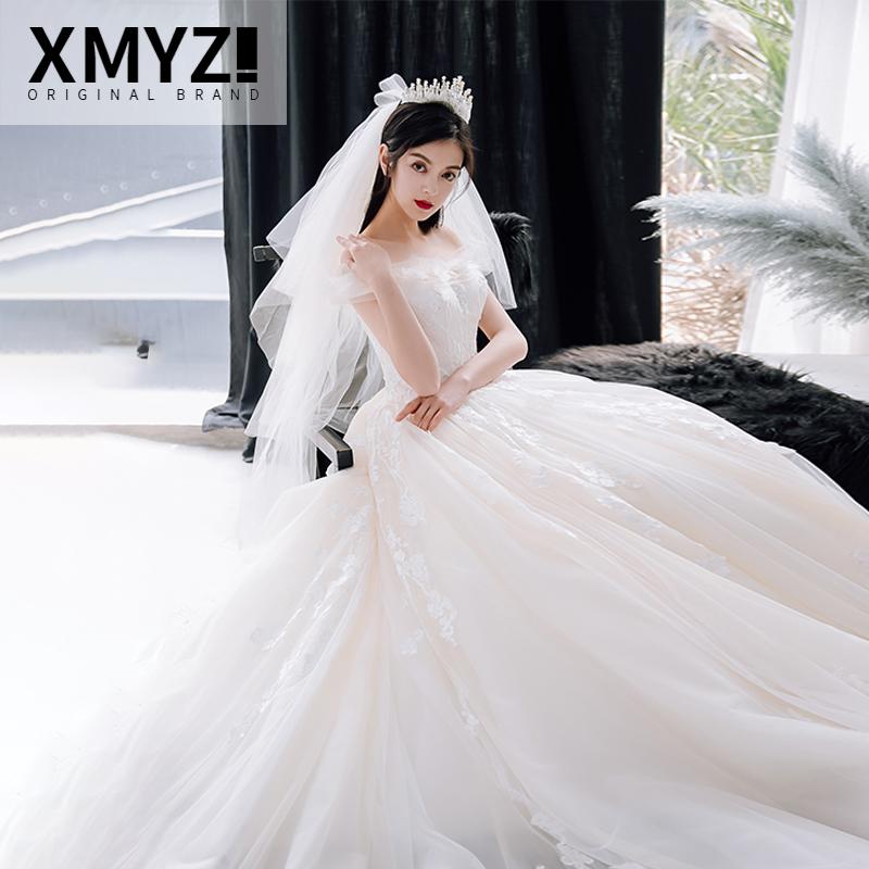婚纱2019新款春冬季一字肩大拖尾新娘结婚出门纱春天婚纱礼服显瘦