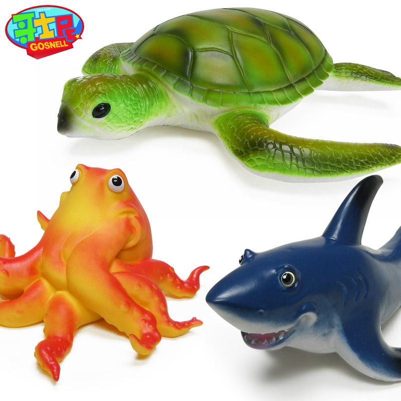 哥士尼仿真软胶鱼玩具 座头鲸模型海豚 锤头鲨鱼玩具海洋动物模型