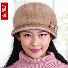 帽子女冬天保暖帽加厚毛线帽针织帽韩版潮时尚兔毛帽秋冬贝雷帽
