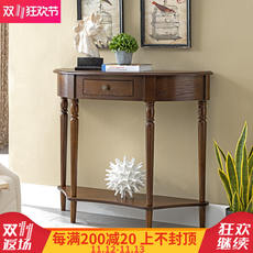 American porch Taiwan solid wood simple European porch cabinet New Chinese style wall semicircular room partition cabinet porch table