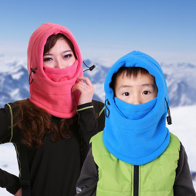 爱雪户外保暖抓绒帽男防风帽加厚脖套护耳护脸多用滑雪帽面罩