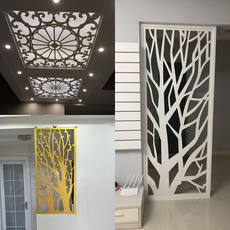 Carved board hollow partition screen porch TV background ceiling ceiling carved window living room decoration PVC custom