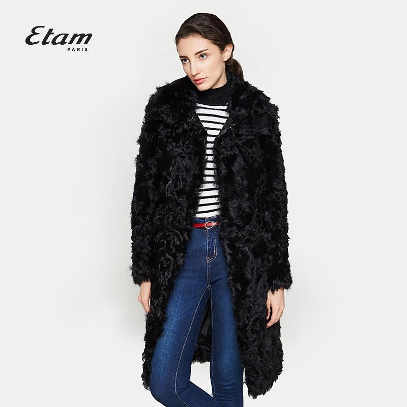 艾格Etam2017冬季时尚纯色毛绒大衣女8A013300495
