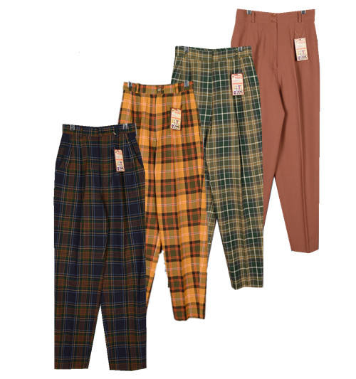 2018 autumn and summer retro literary loose harem pants Japanese high waist pants straight radish plaid pants (t1)