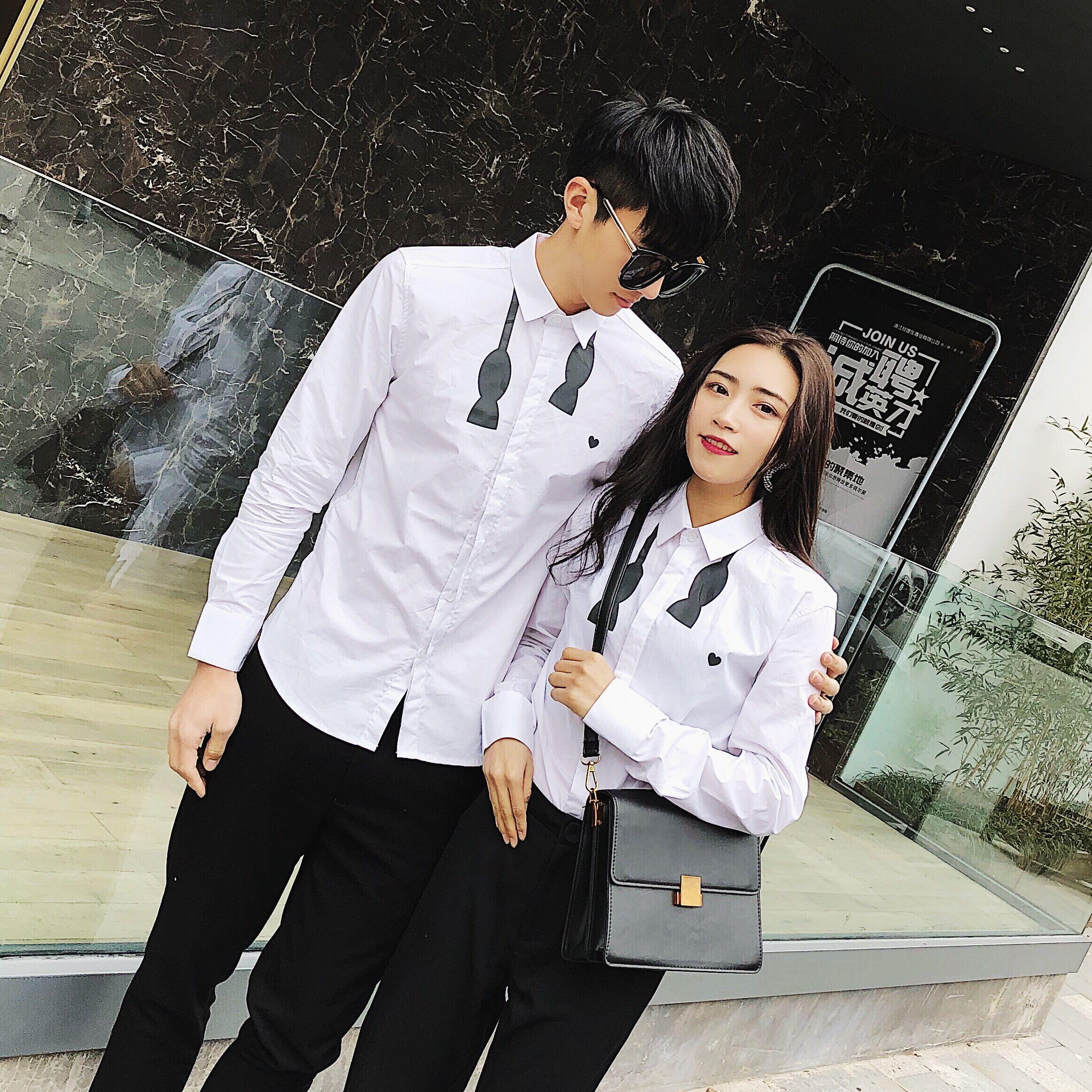 阿姐家 2017年新款韩版百搭修身情侣款胸前印花白色衬衫打底衫满6元减5元