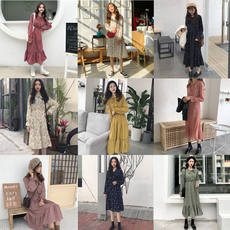 2018 autumn and winter Korean version of the small fresh floral long-sleeved lace bow chiffon dress female long section skirt