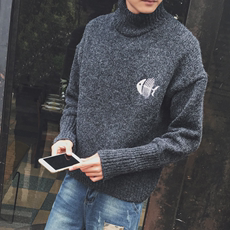 Winter new round neck pull thick sweater male student Korean version of the self-cultivation youth half-neck sweater tide men's sweater