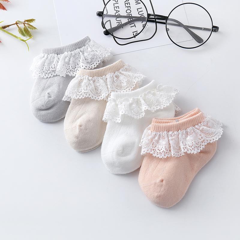 宝宝袜子纯棉春秋薄款0-1-3岁一岁宝宝袜子婴儿夏季花边蕾丝短袜