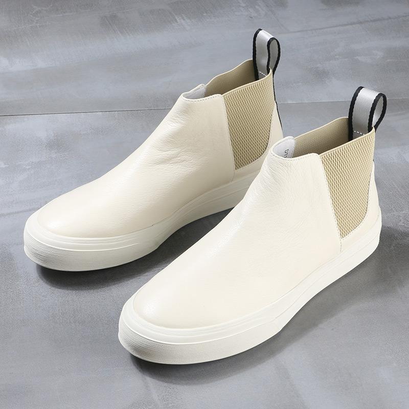 锐采冬季新款男靴真皮高帮休闲鞋潮流简约皮靴户外牛仔靴短靴男鞋