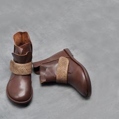 Artmu阿木原创2018新款平底马丁靴 软底真皮女靴子复古百搭裸靴