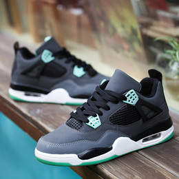 AJ4男女篮球鞋减震轻便运动鞋男鞋秋季防滑减震乔4代低帮科比战靴