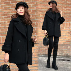 2018 spring new Korean version of the long loose loose black mohair wool coat small coat female