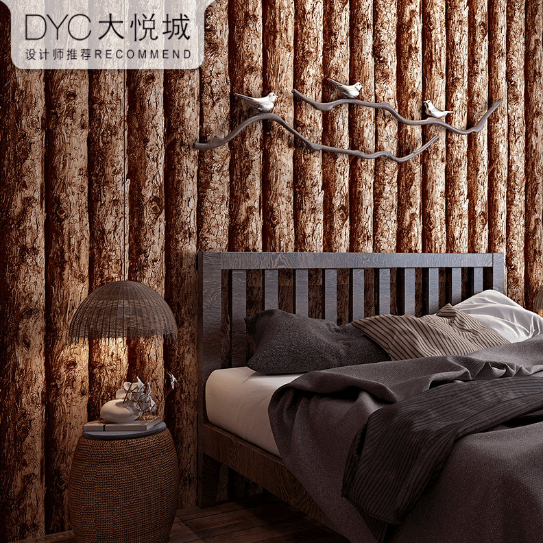 仿木纹墙纸3D立体复古怀旧实木原木色仿真木质木板纹中式餐厅饭店