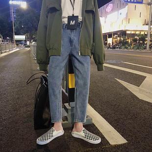 方少男装秋季韩版潮流宽松小脚牛仔裤蓝色青少年直筒九分休闲裤子