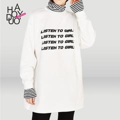 Haoduoyi秋季运动假两件中长款上衣条纹拼接字母印花宽松长袖卫衣