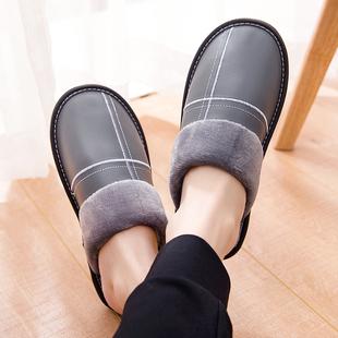 冬季保暖棉拖鞋男女居家真牛皮拖鞋冬天室内家居用防滑地板保暖鞋