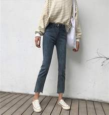 Korean version of the fashion was thin irregular pants feet two buckle jeans women spring loaded wild students straight pants nine pants