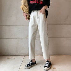 Korean version of ulzzang loose light apricot high waist jeans female summer wild students straight pants nine points pants