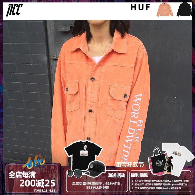 新衣城 HUF 19SS复古工装灯芯绒刺绣标签潮牌男女情侣夹克外套