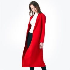 Spain high-end fashion European station double-faced cashmere coat women's long section long-sleeved slim woolen coat winter