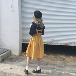 ELIM 原创 自制秋冬款日系软妹背带裙女装宽松学院风中长款连衣裙