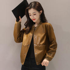 Leather female short paragraph spring and autumn loaded 2018 Korean version of the loose large size PU leather short jacket temperament casual leather jacket female tide