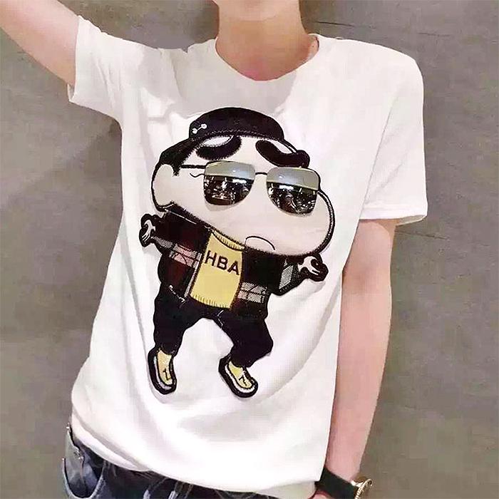 欧洲站夏季卡通蜡笔小新图案白色T恤学生韩范纯棉宽松大码短袖女
