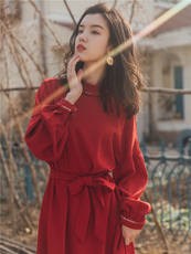 Literary temperament Victoria French retro skirt red dress female autumn and winter lantern sleeves waist long section